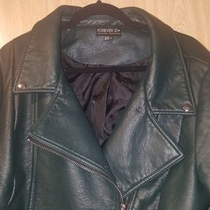 Dark Teal Faux Leather Jacket